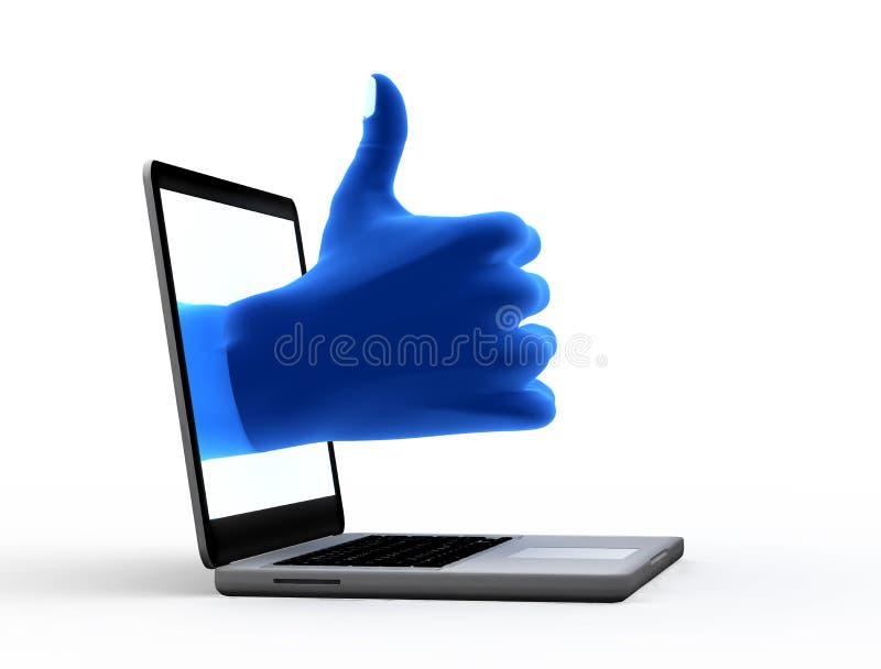 Ok tecken. Blå hand från skärmen fotografering för bildbyråer