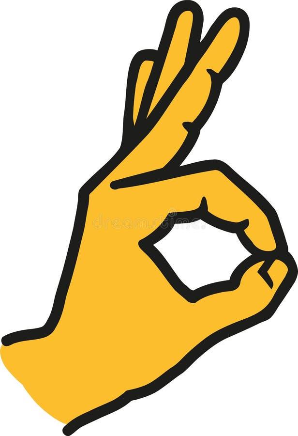 Ok teckenhandsymbol stock illustrationer
