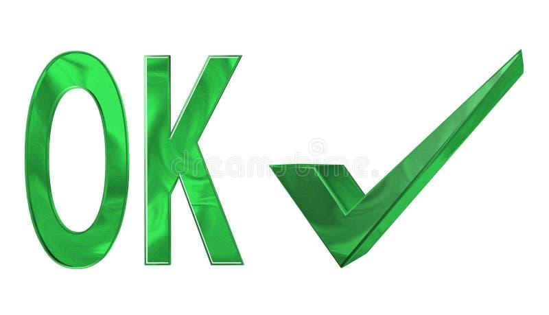 Ok. White background and green check mark stock illustration
