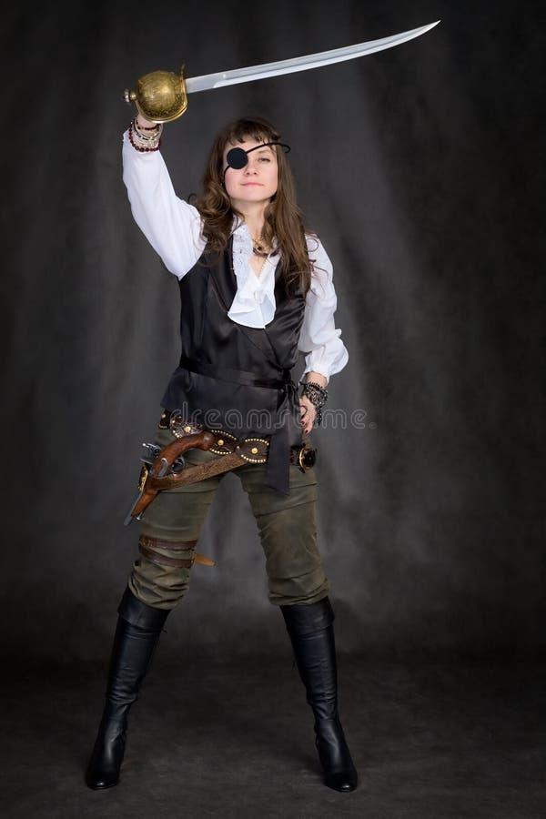 oka dziewczyny łaty pirat zdjęcie stock