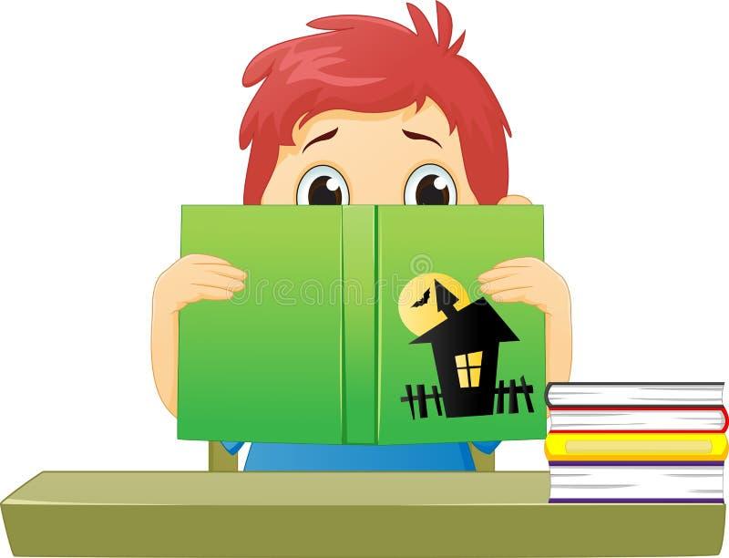 Okaleczająca chłopiec czyta horroru komiks ilustracji
