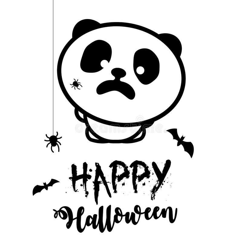 Okaleczająca panda, pająki atakował pandy Halloween przyjęcia wektoru ilustracja Czarna linia stylizująca ilustracja wektor