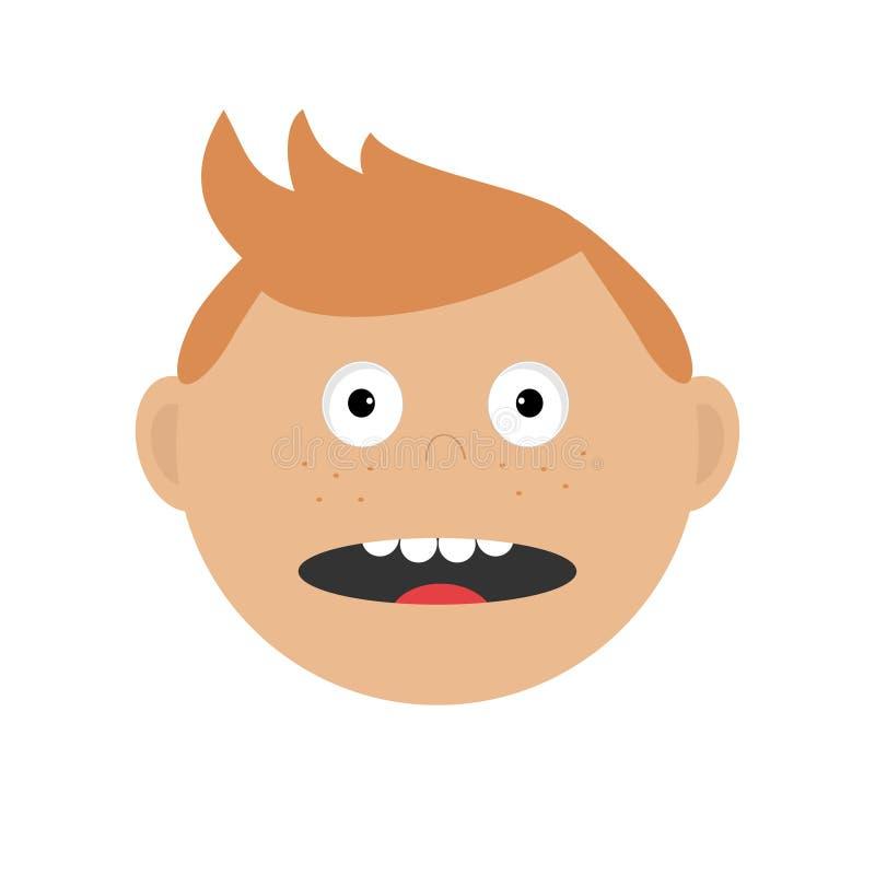 Okaleczam zaskakiwał fightend faceta przestraszoną głowę Chłopiec emoci kolekcja Śliczny postać z kreskówki z czerwonym włosy i p royalty ilustracja
