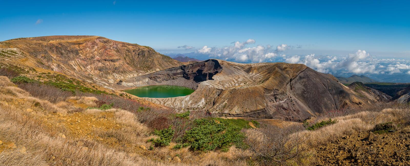Okama crater in autumn season at Zao mountain area. Okama crater in autumn season at Zao mountain area, Sendai, Japan stock image