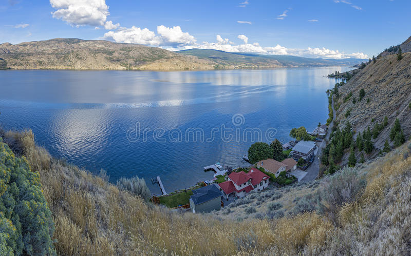 Okanagan Lake near Summerland British Columbia Canada. With a lakefront subdivision in the Foreground royalty free stock photo