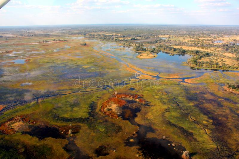 Okavango Delta. The Okavango Delta (or Okavango Swamp), in Botswana, is a large inland delta, formed where the Okavango River reaches a tectonic trough in the royalty free stock photos