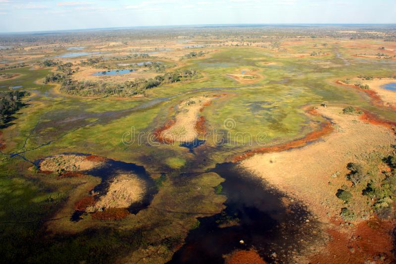 Okavango Delta. The Okavango Delta (or Okavango Swamp), in Botswana, is a large inland delta, formed where the Okavango River reaches a tectonic trough in the stock photos
