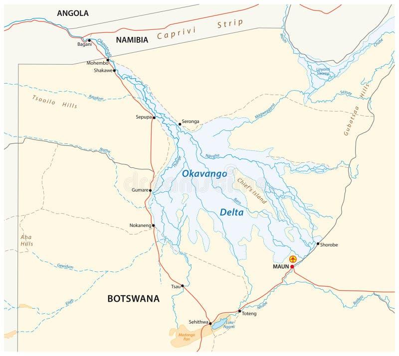 Okavango deltakaart vector illustratie