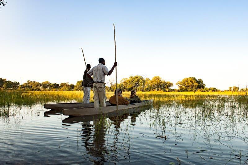 Okavango Trip with Dugout Canoe in Botswana stock images