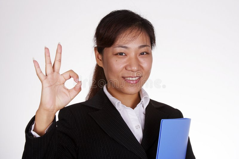 Okay!. Happy Asian Business woman smiling stock photography