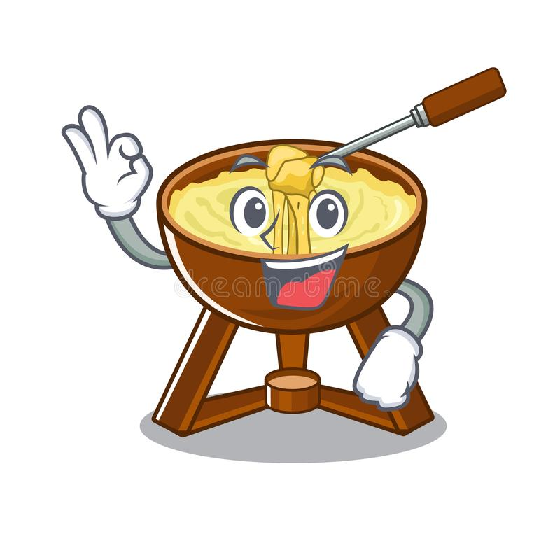 Okay cheese fondue with in mascot shape. Vector illustration royalty free illustration
