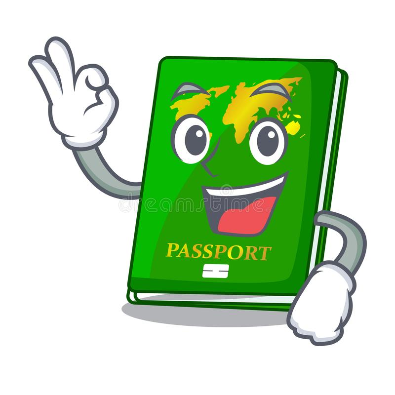 Okay green passport in the cartoon shape. Vector illustration stock illustration