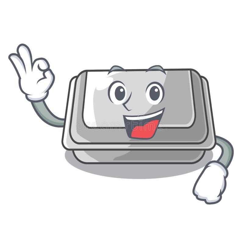 Okay plastic box in the mascot shape. Vector illustration royalty free illustration