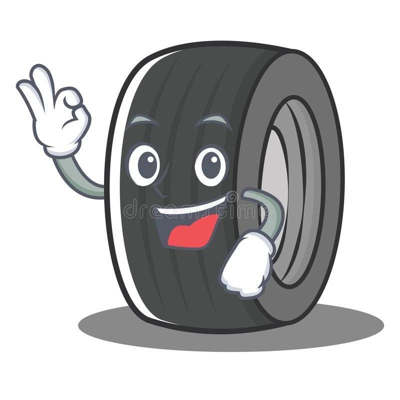 Okay tire character cartoon style vector illustration