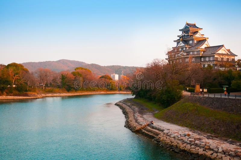 Okayama Castle and river in early autumn. Okayama Castle and river on clear sky day in early autumn stock photos