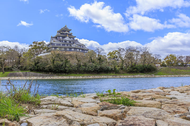 Okayama Castle. View with Rock Foreground stock image
