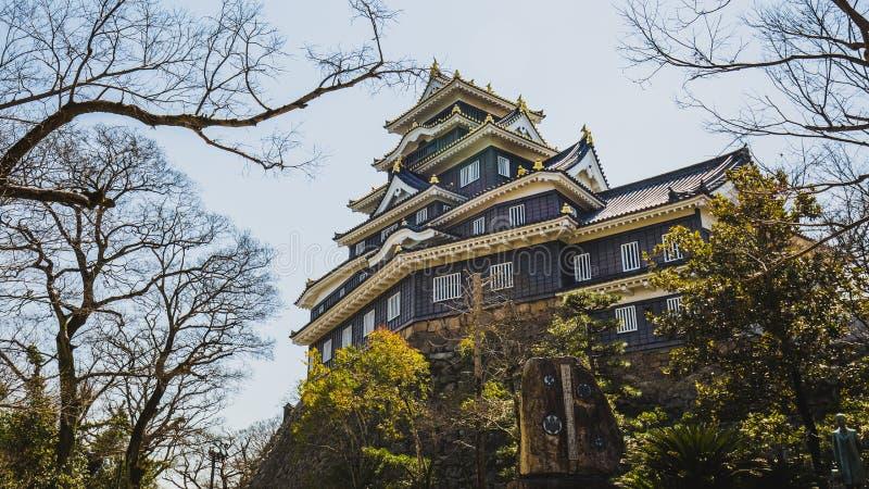 Okayama kasztel lub wroni kasztel w wiośnie obraz royalty free