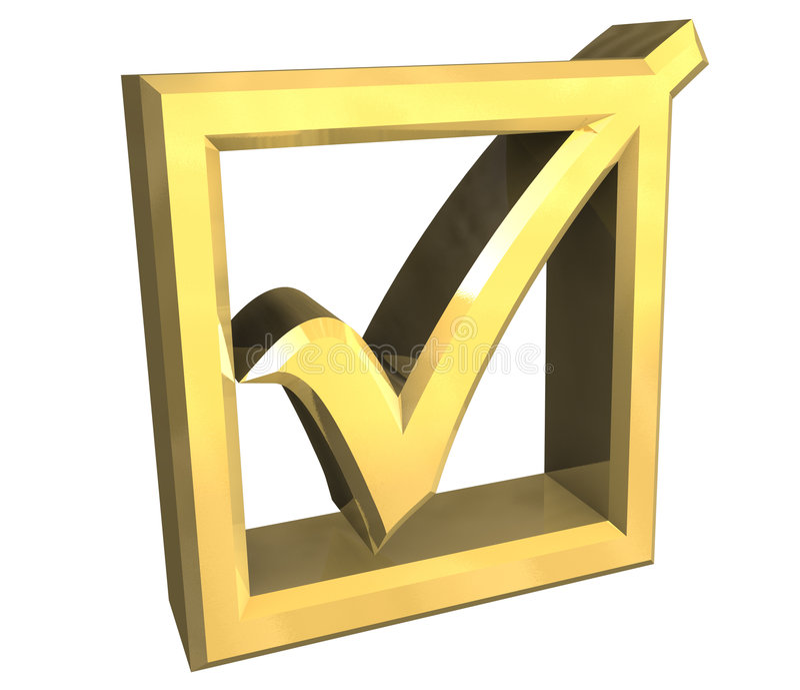 Okayhäckchen im Gold getrennt - 3D stock abbildung