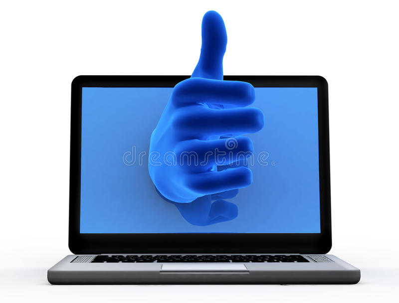 Okayzeichen. Blaue Hand vom Bildschirm lizenzfreies stockfoto