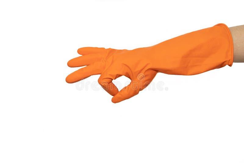 Okayzeichen von orange Gummihandschuhen Vorbereiten für das Säubern Hände säubern, nachdem sie gesäubert haben Quietschende Leute stockfotografie