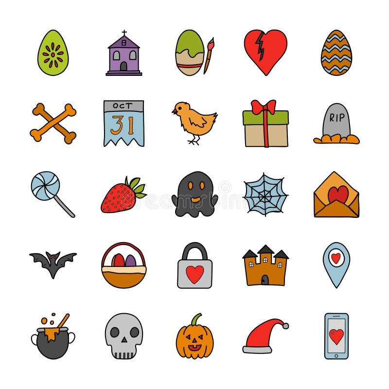 Okazji Doodle ikony Ustawiać ilustracji