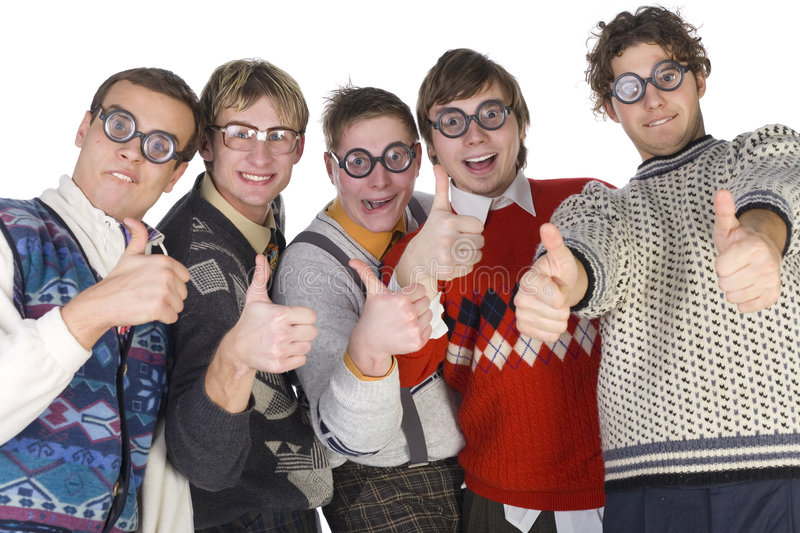 We are okey!. Five nerdy guys in funny glasses, smiling and looking at camera with raised thumbs. Front view, white background stock photo