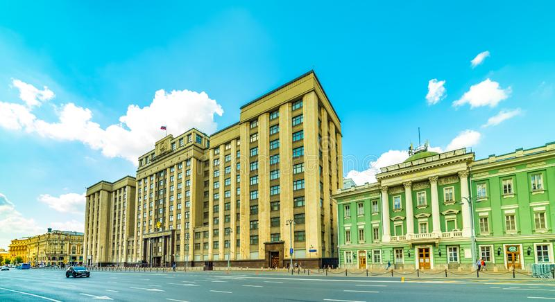 Okhotny Ryad Street-State Duma of the Federal Assembly of the Russian Federation, house of Unions, hall of column in Moskva royaltyfria foton