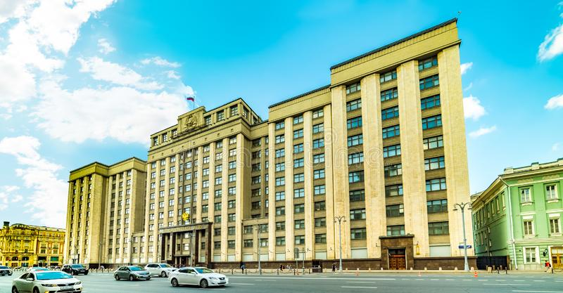 Okhotny Ryad street-State Duma of the Federal Assembly of the Russian Federation, house of Unions, hall of columns in Moscow. City the Moscow .Okhotny Ryad stock photo