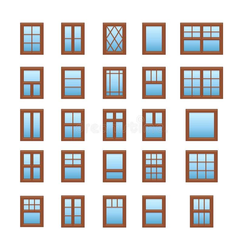 Okienka drewniane z okładzin Elementy architektury Zbiór ikon płaskich Tradycyjne i francuskie ramy okien royalty ilustracja