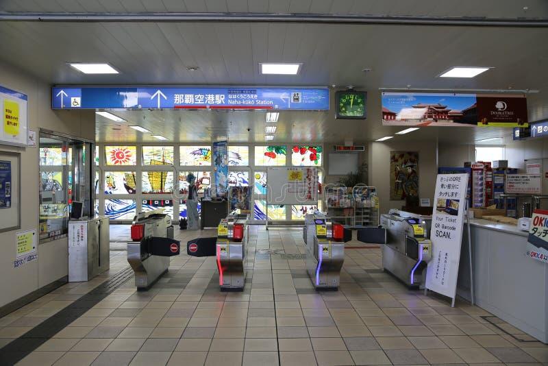 OKINAWA - 8 OCT: Jednoszynowa stacja w Okinawa, Japonia na 8 Październiku obrazy royalty free