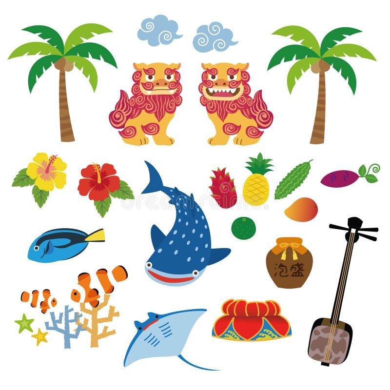 Okinawa specjalności lokalni elementy ilustracyjni ilustracja wektor