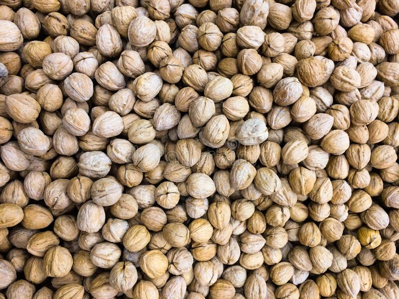 Okkernoten, stapel van noten, okkernotenachtergrond royalty-vrije stock foto