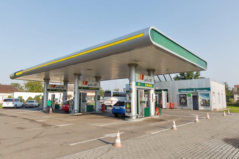 OKKO加油站在Vylok,乌克兰 免版税图库摄影