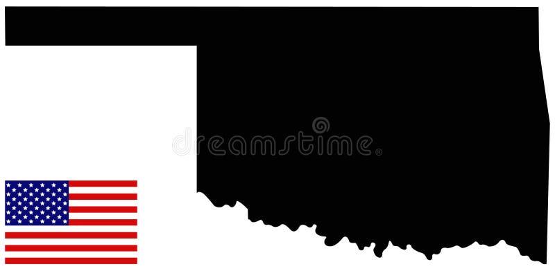 Oklahoma översikt med USA flaggan - tillstånd i den södra centrala regionen av Förenta staterna stock illustrationer