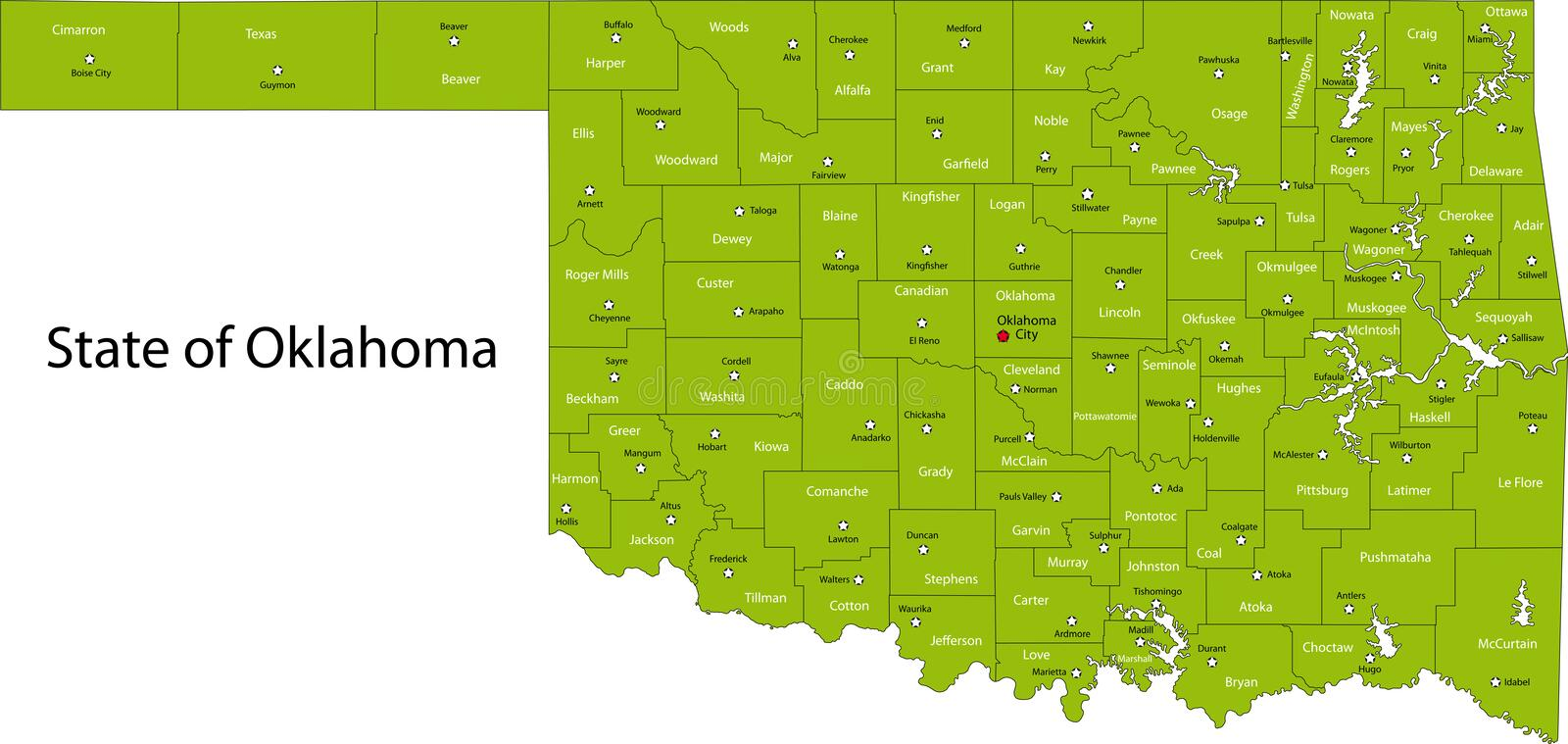 Oklahoma stock illustratie