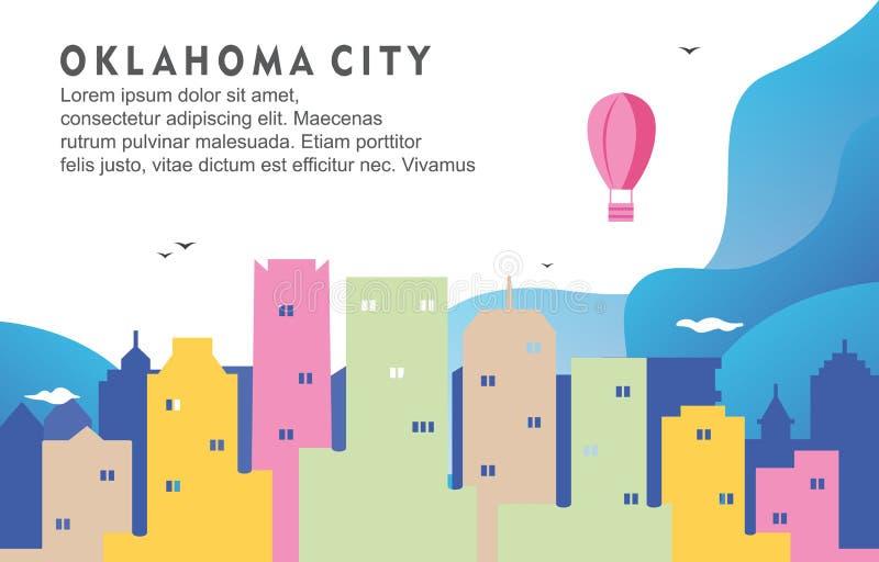 Oklahoma City die Cityscape Horizon Dynamische Illustratie bouwen Als achtergrond stock illustratie
