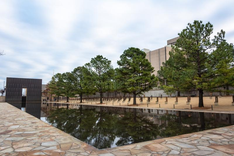 Oklahoma City National Memorial in Oklahoma City, OK. Oklahoma City, Oklahoma, United States of America - January 18, 2017. Oklahoma City National Memorial in royalty free stock images