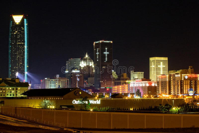 Oklahoma City at night stock images