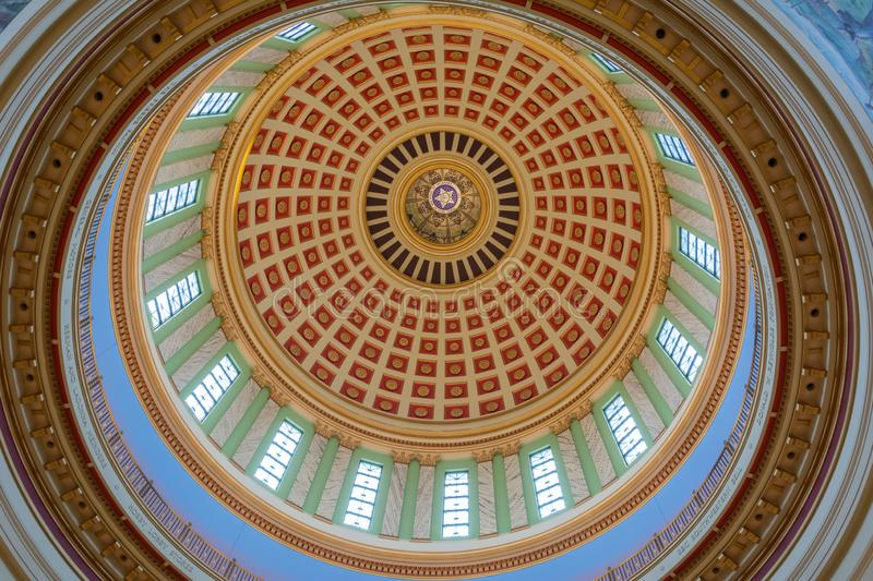 Ceiling of the dome of State Capitol of Oklahoma in Oklahoma City, OK. Oklahoma City, Oklahoma, United States of America - January 18, 2017. Ceiling of the dome stock images