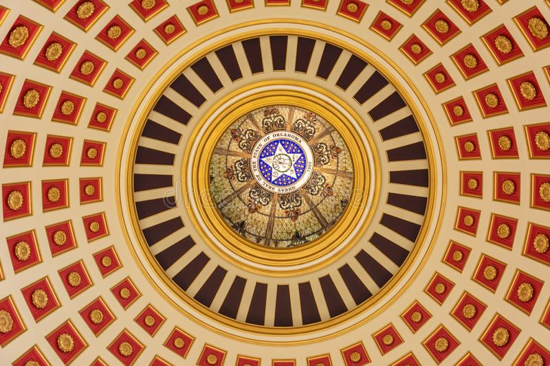 Ceiling of the dome of State Capitol of Oklahoma in Oklahoma City, OK. Oklahoma City, Oklahoma, United States of America - January 18, 2017. Ceiling of the dome stock photo