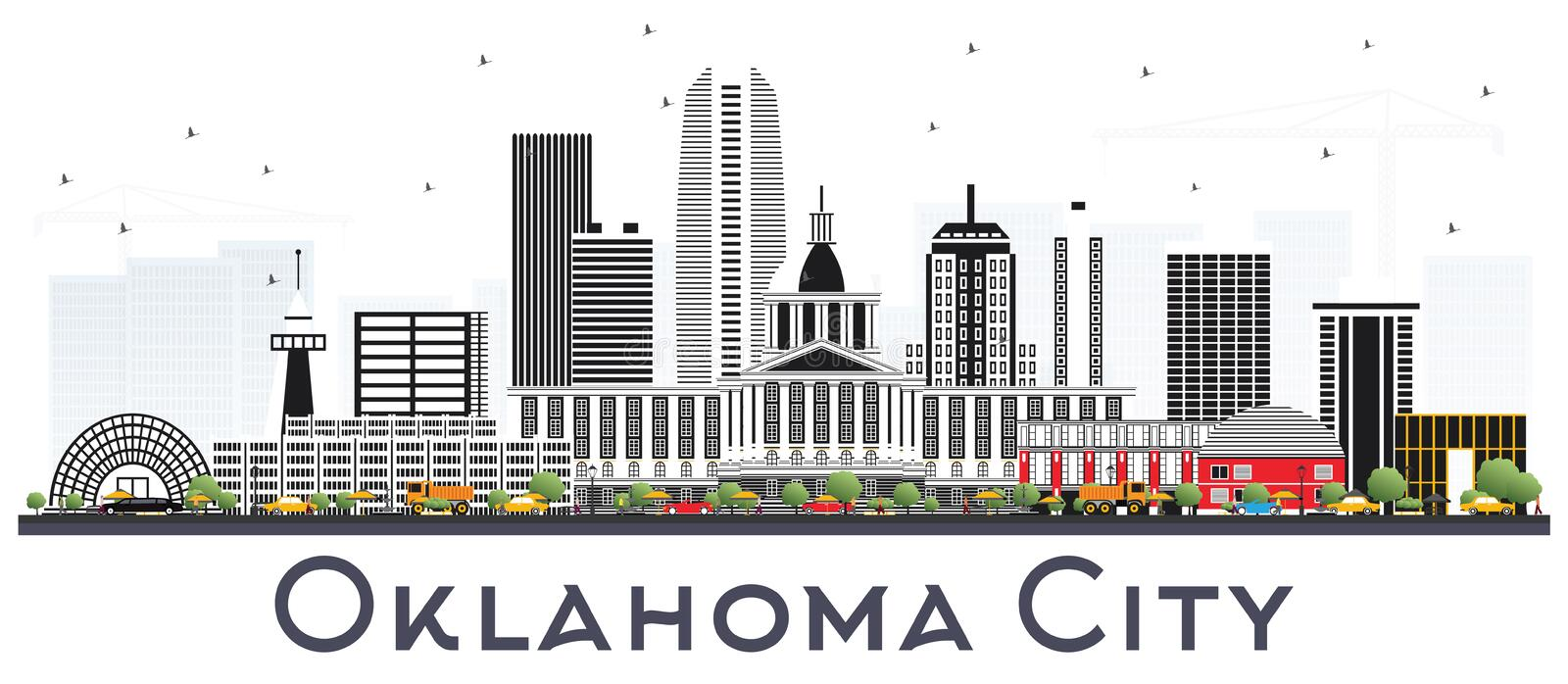 Oklahoma City Skyline with Gray Buildings Isolated on White. Vector Illustration. Business Travel and Tourism Concept with Modern Architecture. Oklahoma City vector illustration