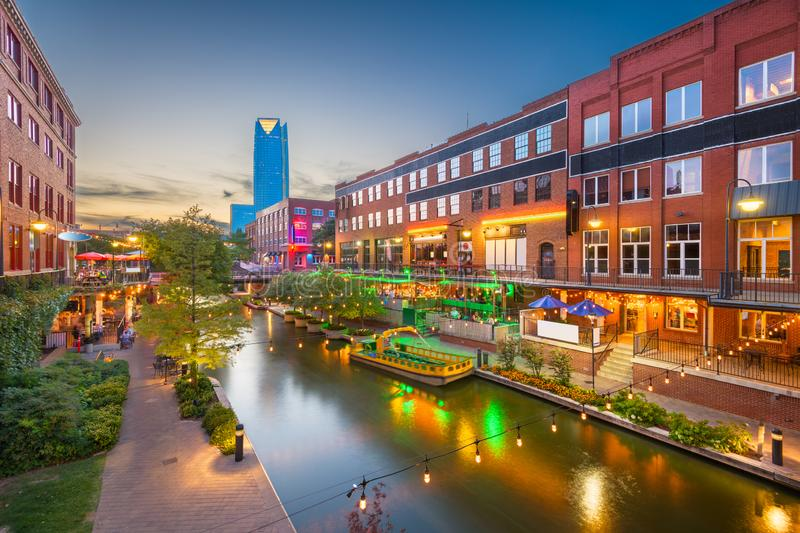 Oklahoma City, Oklahoma, USA. Cityscape in Bricktown at dusk stock image