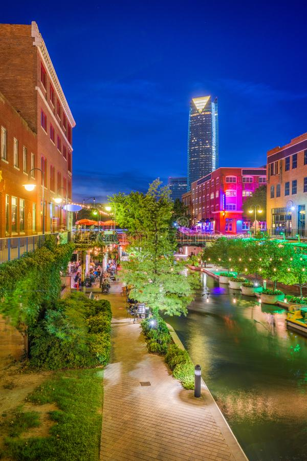 Oklahoma City, Oklahoma, USA. Cityscape in Bricktown at dusk royalty free stock photography