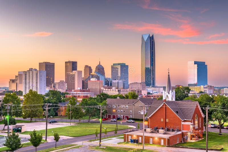 Oklahoma City, Oklahoma, USA downtown skyline. At twilight stock photos