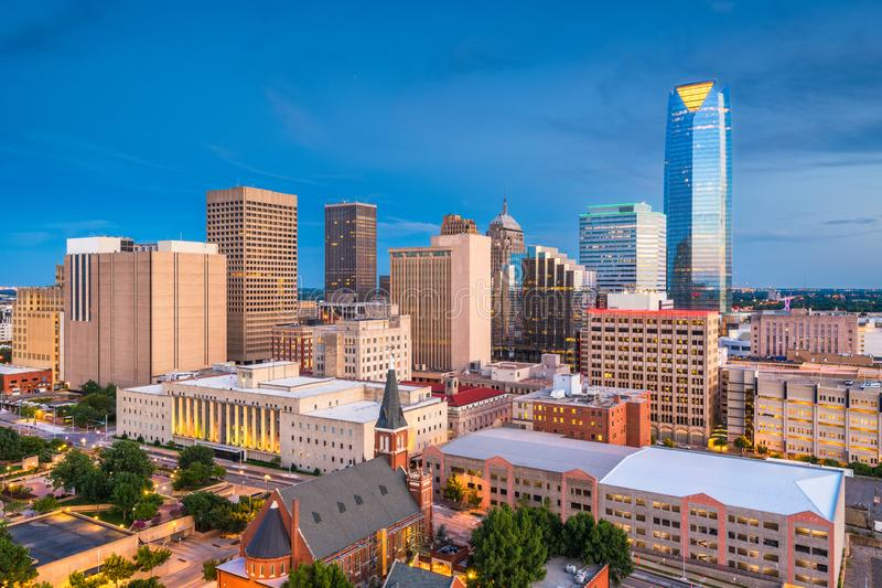 Oklahoma City, Oklahoma, USA Skyline. Oklahoma City, Oklahoma, USA downtown skyline at twilight stock photos