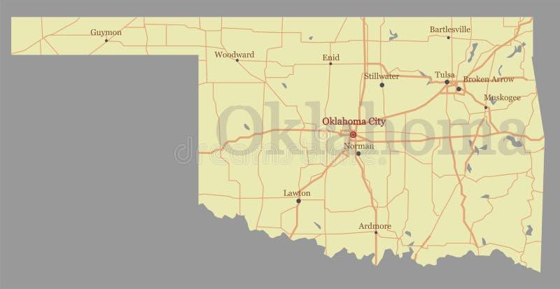 Oklahoma detalhou o mapa detalhado exato do estado do vetor com a comunidade ilustração royalty free