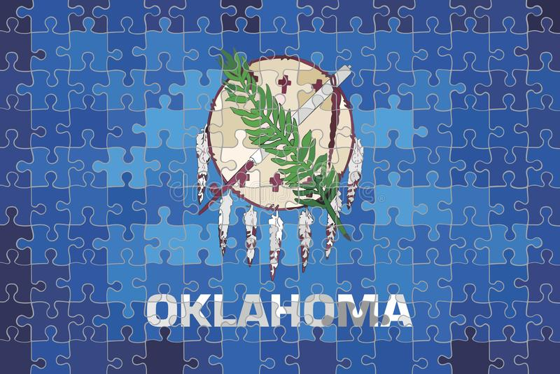 Oklahoma flag made of puzzle background. Illustration vector illustration