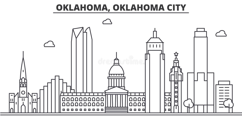 Oklahoma, Oklahoma City architecture line skyline illustration. Linear vector cityscape with famous landmarks, city. Sights, design icons. Editable strokes royalty free illustration