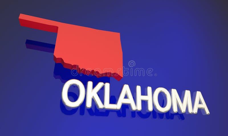 Oklahoma reko rött statligt översiktsnamn stock illustrationer