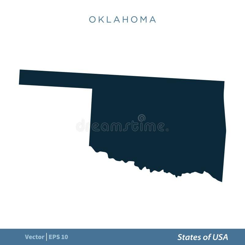 Oklahoma - Staten van van het de Kaartpictogram van de V.S. Ontwerp van de het Malplaatjeillustratie het Vector Vectoreps 10 , royalty-vrije illustratie
